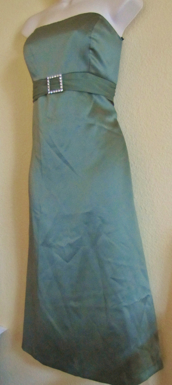 NEW AFTER SIX STRAPLESS FORMAL EVENING PROM SATIN DRESS,SZ 8,OLIVE GREEN,CLASSY