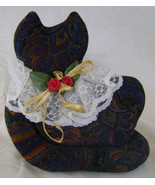 Hand Crafted, Victorian Cat Shelf Sitter, Paisley Corduroy w/Lace Collar   - $6.00
