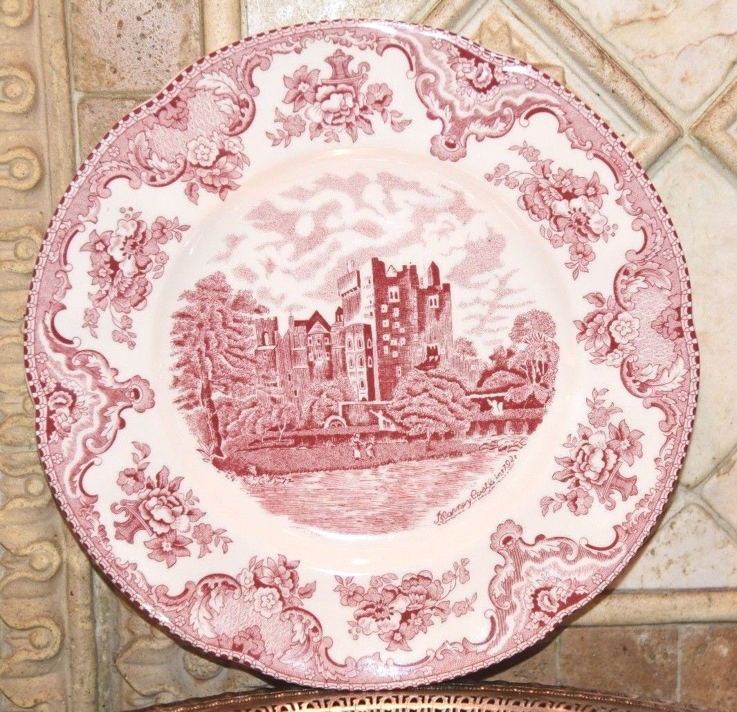 Primary image for Johnson Brothers OLD BRITAIN CASTLES PINK TOILE Blarney Castle Dinner Plate NWT