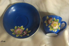 Occupied Japan Blue Demitasse Tea Cup and Saucer - $24.99