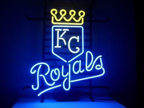 "Kansas City Royals Baseball  MLB Real Glass Handmade Neon Sign 24""x20"""