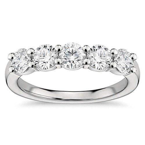 VIP Jewelry Art 1.00 CT Classic Shared Prong Five Stone Diamond Wedding Ring in