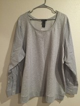 Lane Bryant ~ NWT Womens Gray Sweater Striped Sleeves Size 4X 26 28 - $24.79