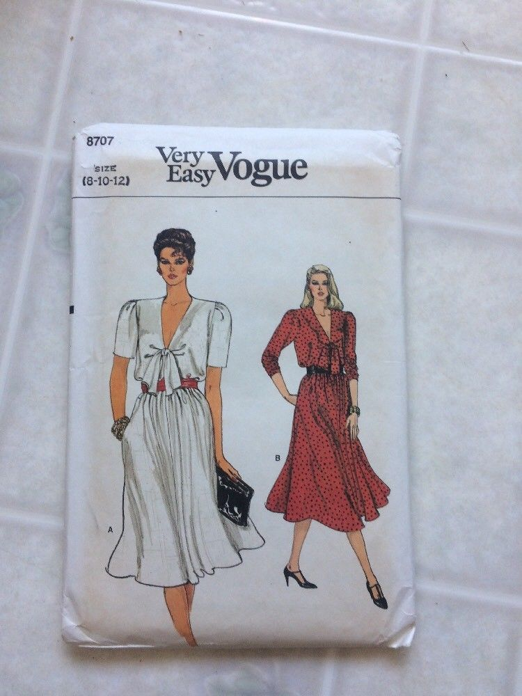 Vintage sewing pattern vogue very easy 8707 and 12 similar items vintage sewing pattern vogue very easy 8707 sz 8 10 12 uncut tie front vee neck ccuart Image collections