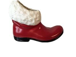 """RARE Vintage Atlantic Mold 8"""" Ceramic Santa Claus Red Boot White Trim  H... - $38.00"""