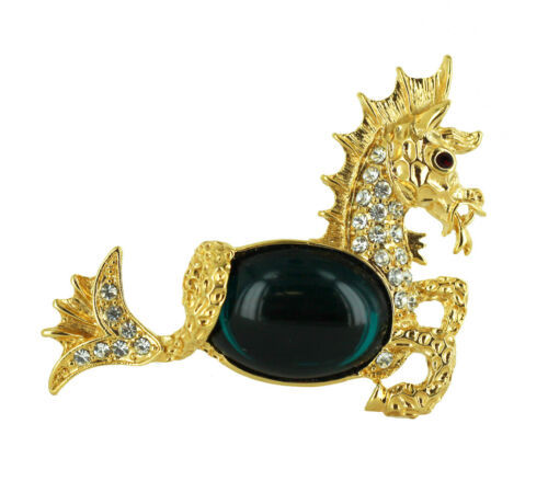 Primary image for Vintage Kenneth J Lane KJL Seahorse Gold Tone Emerald Green Cab Jelly Belly Broo