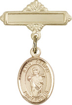 14K Gold Filled Baby Badge with St. Aedan of Ferns Charm Pin 1 X 5/8 inch - $87.10