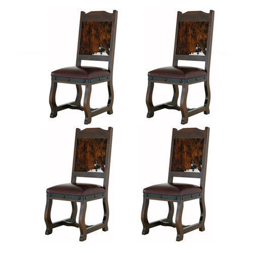 Set Of Four Gran Hacienda Cowhide Dining Side Chairs Solid Wood Lodge Old World