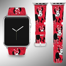 Minnie Mouse Disney Apple Watch Band 38 40 42 44 mm Fabric Leather Strap 01 - $24.97