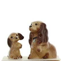 Hagen Renaker Miniature Dog Cocker Spaniel Mama and Pup Ceramic Figurine Set