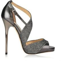 Jimmy Choo Tyne Peep Toe Sandal Glitter Anthracit Leather Platform Pump ... - $420.00