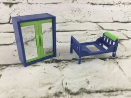 Playmobil Replacement Pieces Wardrobe & Bed Frame Blue Green 2000 - $11.88