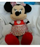"""Disney Store Valentine Minnie Mouse plush in red and white heart dress  16"""" - $11.00"""