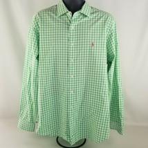 Polo Ralph Lauren Green Check Dress Shirt Westerton Size XL 100% Cotton - $24.74