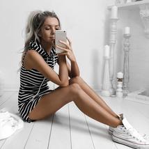 Women Summer Hoodie Sweatshirt Female Fashion Stripe Dress Vestidos De F... - $12.99