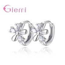 Hot Promotion 925 Sterling Silver  Trendy Flower Hoop Earrings for Women... - $7.81