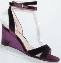 Nine West Vartan purple velvet peep toe ankle buckle strap wedge heel 7.5M - $29.60