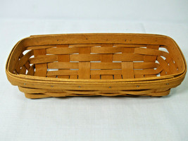 "1994 Longaberger Handwoven Oblong Bread Basket Brown 11.5"" x 5"" - $19.75"