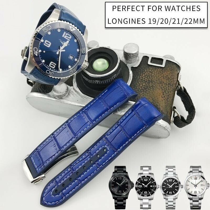 Primary image for 19 20 21 22mm Nylon Surface Leather Bottom Silicone Watch Strap Buckle Watchband