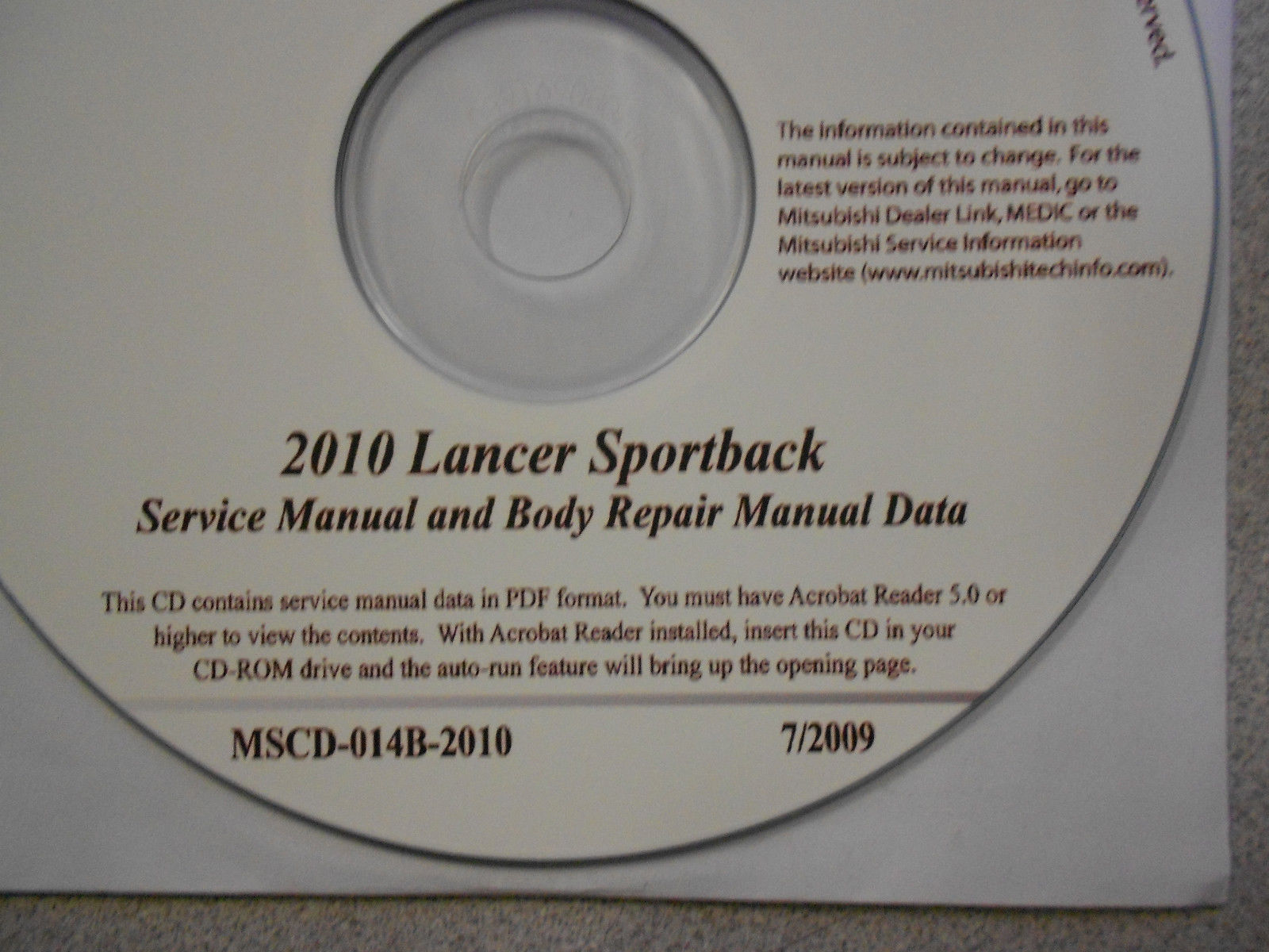2010 MITSUBISHI LANCER SPORTBACK Service Repair Manual CD FACTORY OEM BARGAIN 10