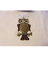 Metal Owl On A Branch Wall Or Window Hanging With Brown Glass Embellishm... - $29.70