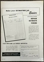 1961 Automotive Service Digest Chicago Print Ad for Repair Estimate Forms - $10.57