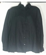 Eileen Fisher Black Linen Top Blouse Extra Small XS Shirt Rayon Button F... - $39.59