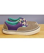 Vans Classic Off the Wall Gray & Purple Padded Canvas Sneakers Youth Size 3 - $19.79