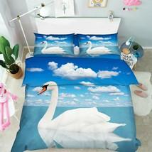 3D White Cloud Swan KER1633 Bed Pillowcases Quilt Duvet Cover Double Kay - $72.00+