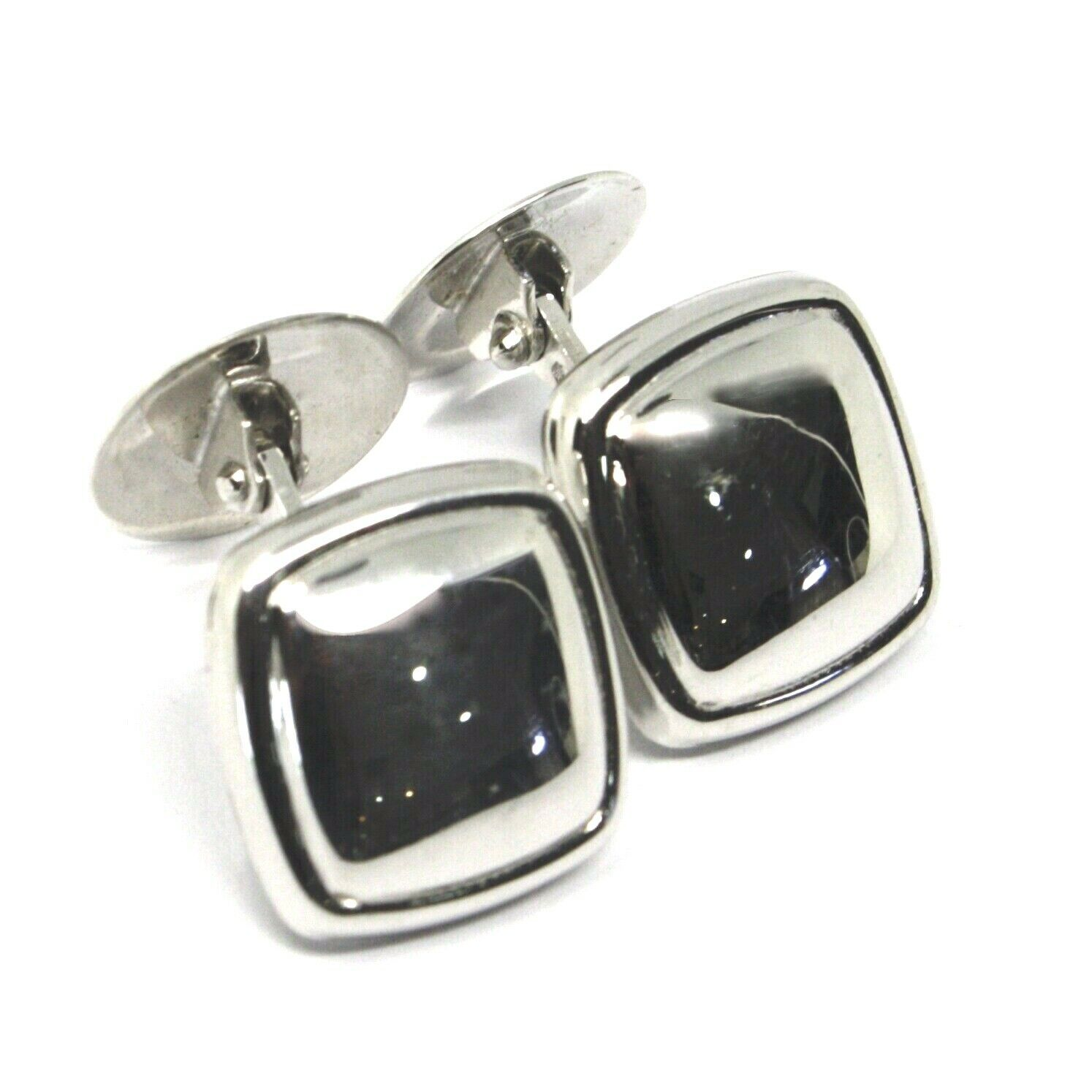 18K WHITE GOLD CUFFLINKS, ROUNDED SQUARE BUTTON, MADE IN ITALY