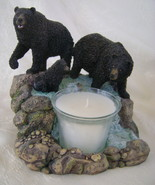 Votive CandleHolder, Resin, Black Bear Family a... - $25.00
