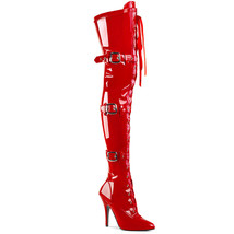 """PLEASER Sexy 5"""" Stiletto Heel Red Multi Buckle Strap Women's Thigh High ... - $85.95"""