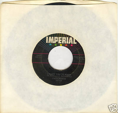 FATS DOMINO 45 rpm I Want You To Know b/w The Big Beat