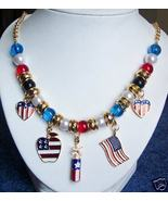 4th of July Americana Flag Patriotic Americana Necklace - $12.00