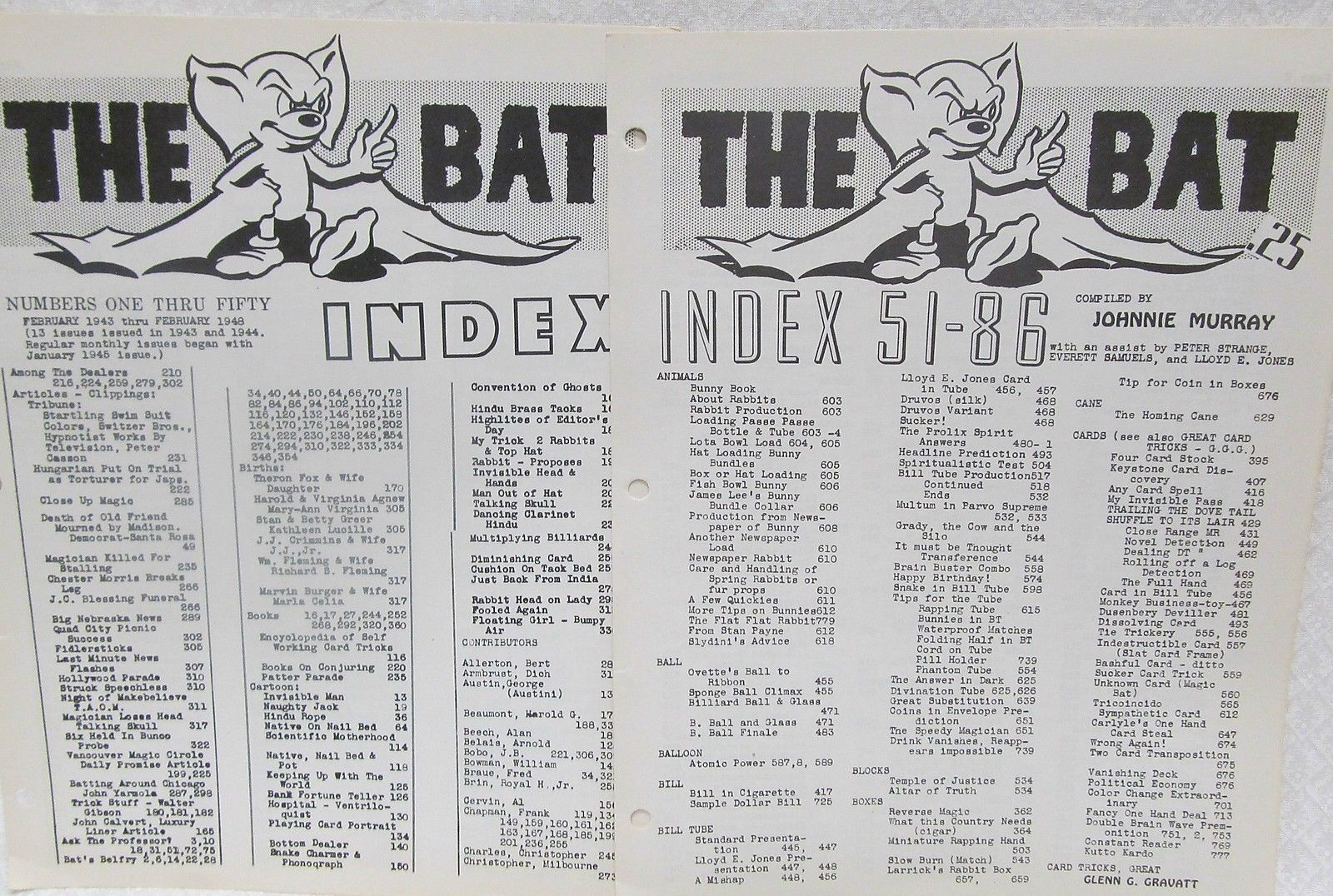 Primary image for The Bat Index Numbers 1-50 and 51-86
