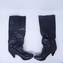 "Black Faux Leather Riding Knee High Womens 16"" Boots Size 7 3"" Heel  H&M 867830 - $12.84"