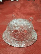 """Vintage Clear Pressed Glass Personal Ashtray Three Legs   3 1/4"""" image 3"""
