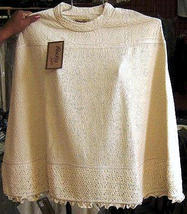 White poncho, outerwear,ecological pima cotton  - $60.00