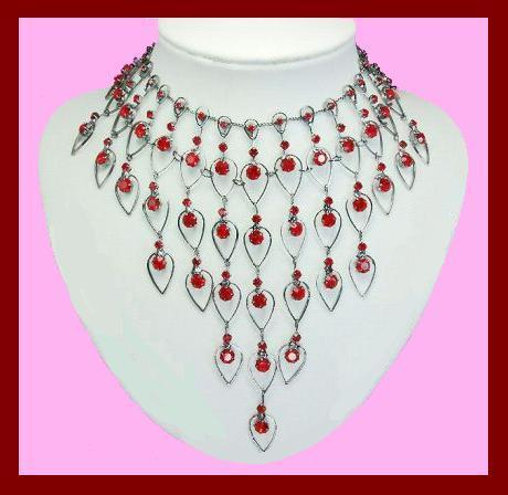 Red crystal necklace   earrings set