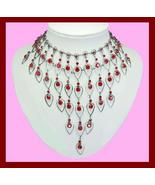 Egyptian Red Crystal Pear Shape 16.5 Inch Choker Necklace - $39.99