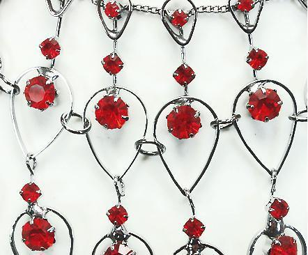 Egyptian Red Crystal Pear Shape 16.5 Inch Choker Necklace