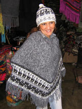 Gray poncho & Hat made of Alpacawool,outerwear - $86.00