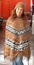 Peruvian Poncho,knitted with Alpacawool and a hat - $115.00