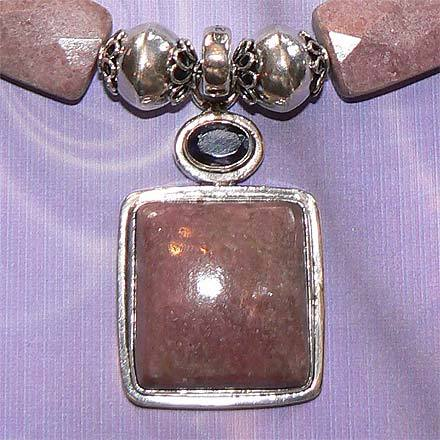 Rhodonite and Iolite Necklace in .925 Sterling Silver