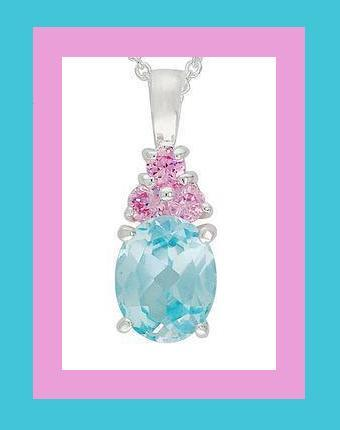 Blue   pink cz ss necklace