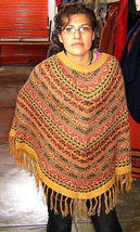 Colored Poncho from Peru,pure Alpacawool,Outerwear - $84.00