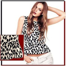 Soft Cotton Chiffon Spotted Black and White Leopard Tank Top with Back Zip Up