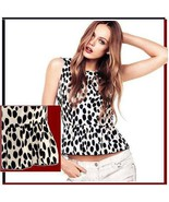 Soft Cotton Chiffon Spotted Black and White Leopard Tank Top with Back Z... - $43.95