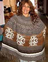 Embroidery Poncho,natural Alpaca wool, outerwear - $112.00