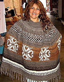 Embroidery Poncho,natural Alpaca wool, outerwear